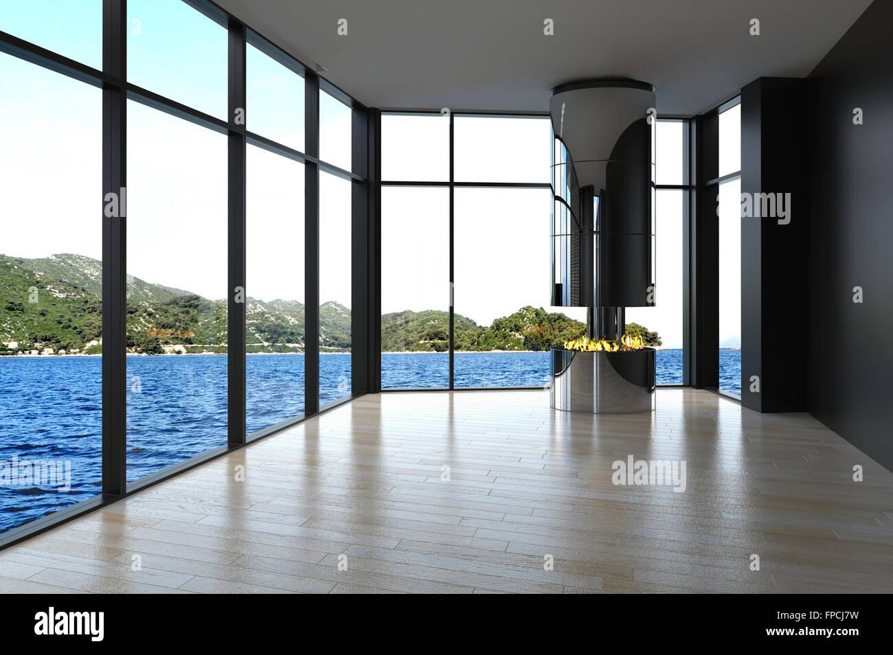 Moderne Fußboden Wohnzimmer ~ Moderne unmöbliert wohnzimmer mit fußboden zudecke fenster an zwei