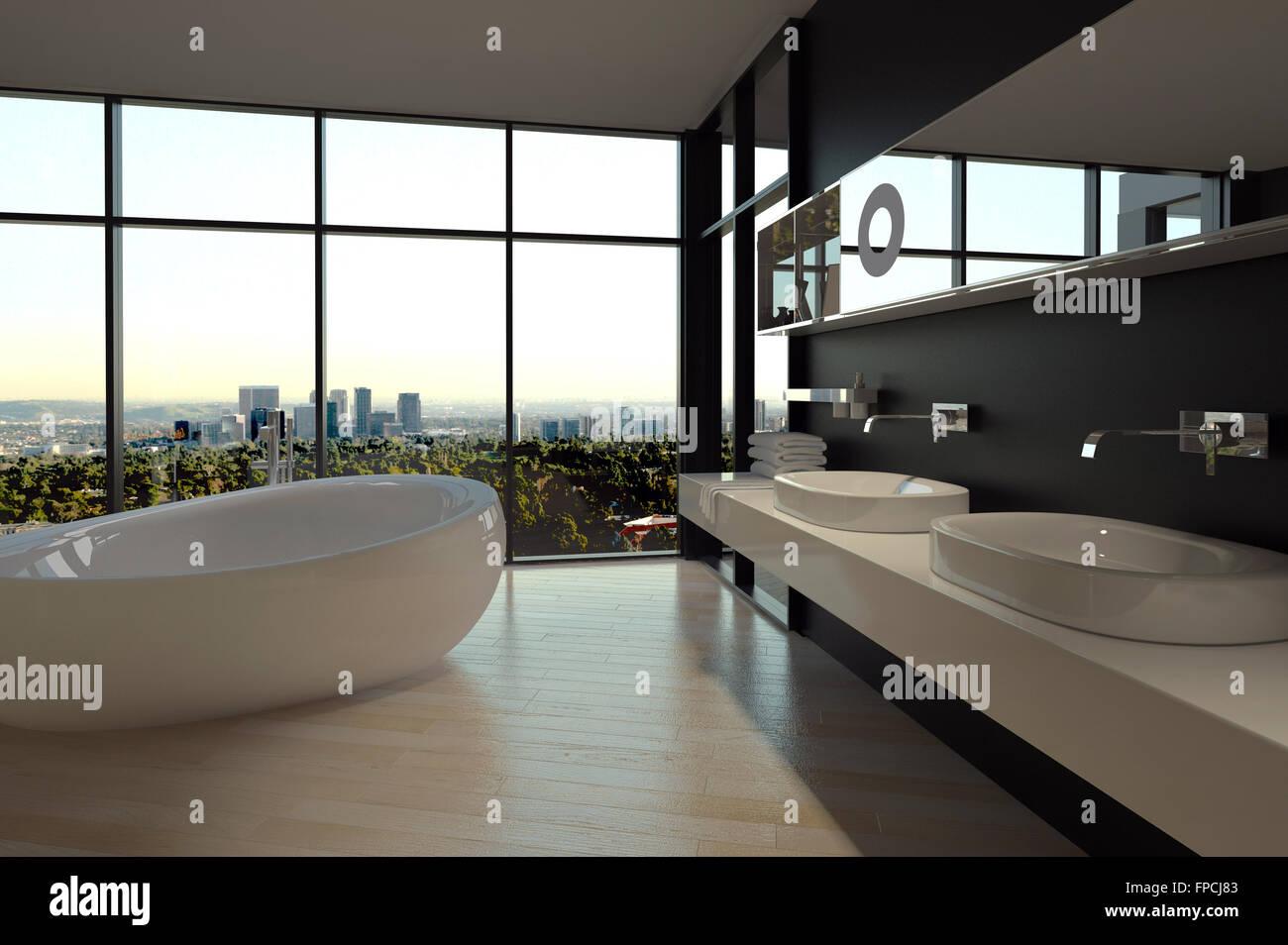 Modernes Badezimmer Interieur in einer städtischen Wohnung mit einer ...