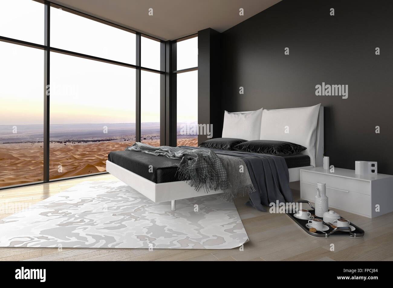 Fußboden Für Schlafzimmer ~ Moderne schlafzimmer innenraum mit blick auf die landschaft durch
