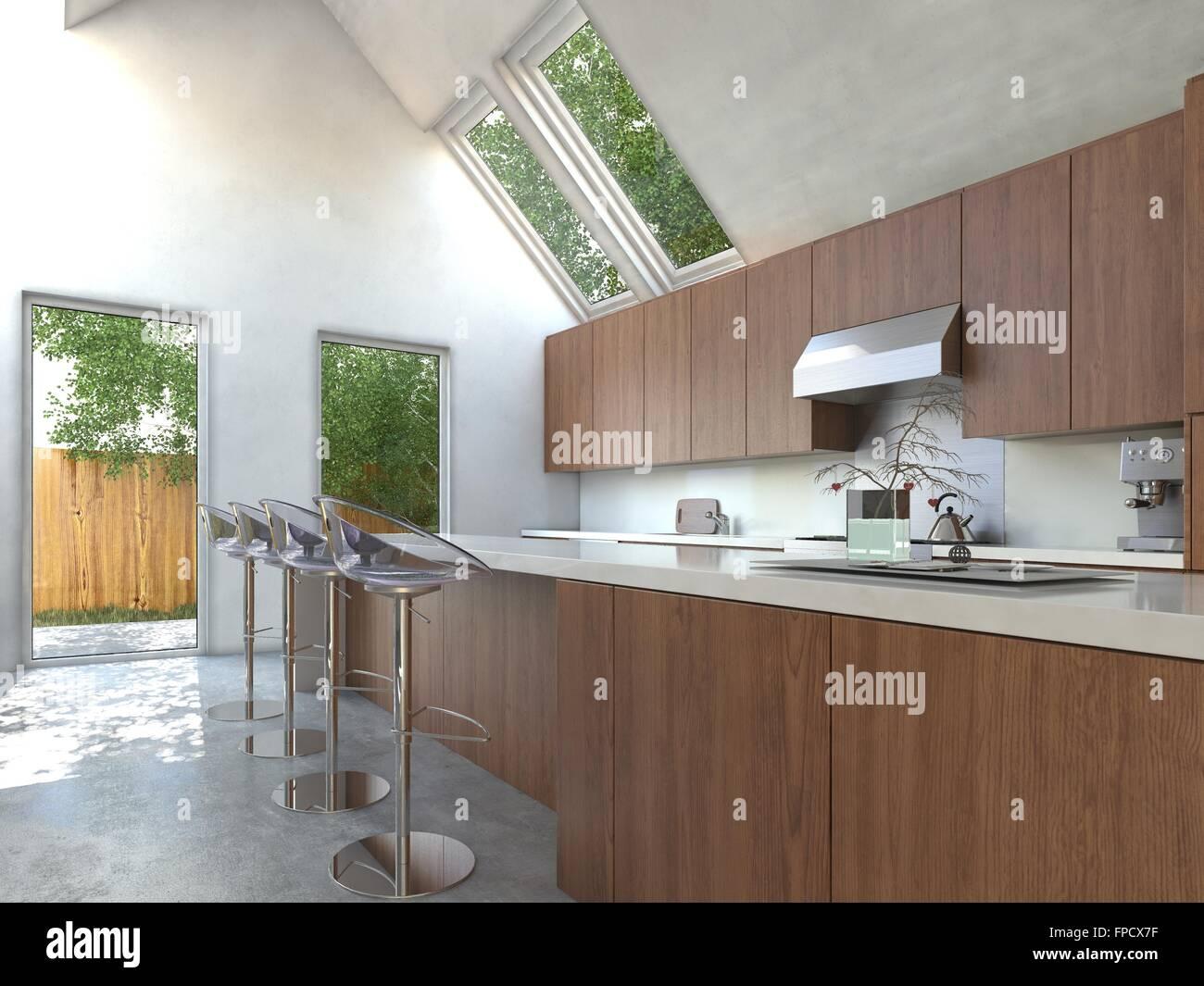 Kompakte Moderne Offene Küche Mit Holzschränke, Bar Theke Und  Zeitgenössische Modulare Hocker Mit Platte Glastür öffnet Sich Ein Kleiner  Hof Und Oberlichter