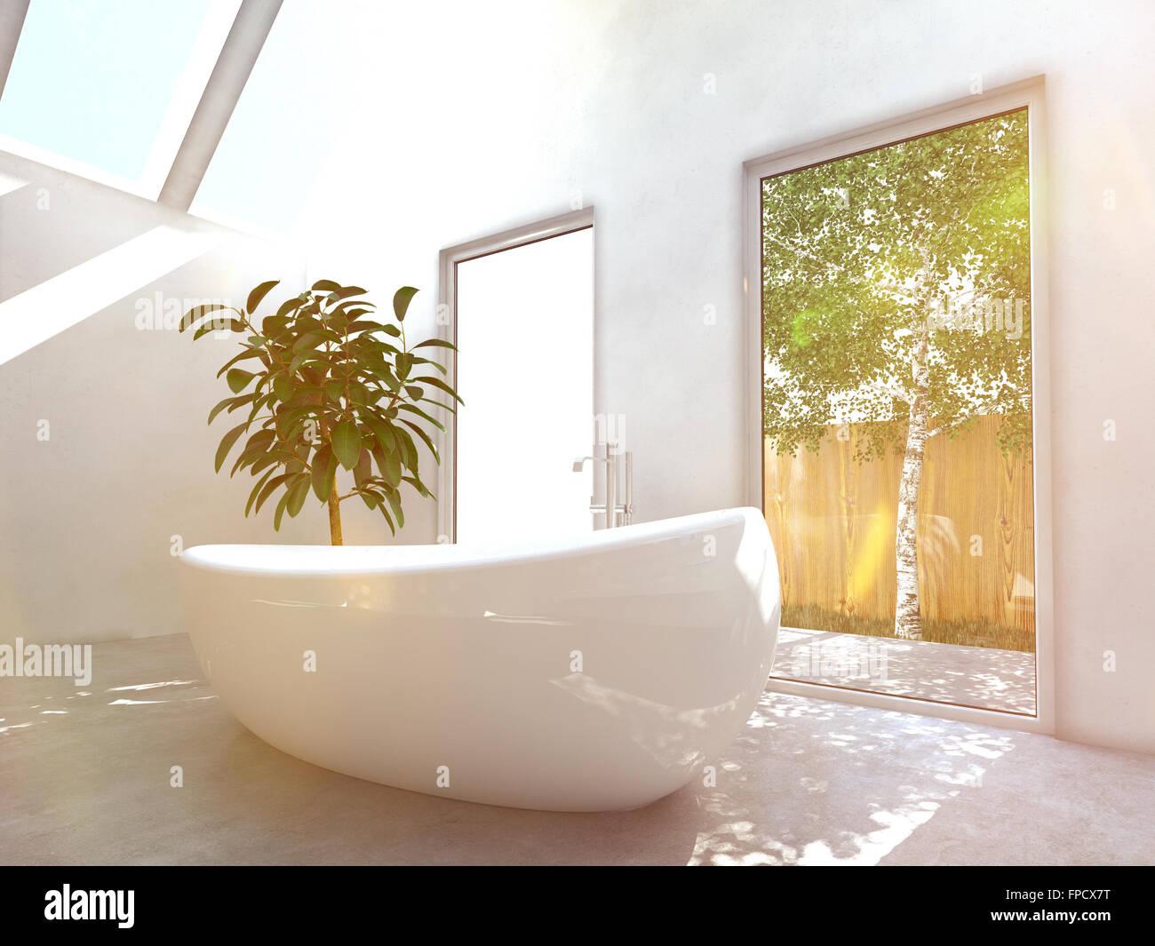 Modernes Badezimmer Interieur mit einer weißen freistehenden ...