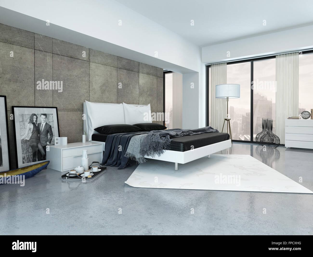 Moderne Schlafzimmer Innenraum mit einer doppelten liege, getäfelten ...