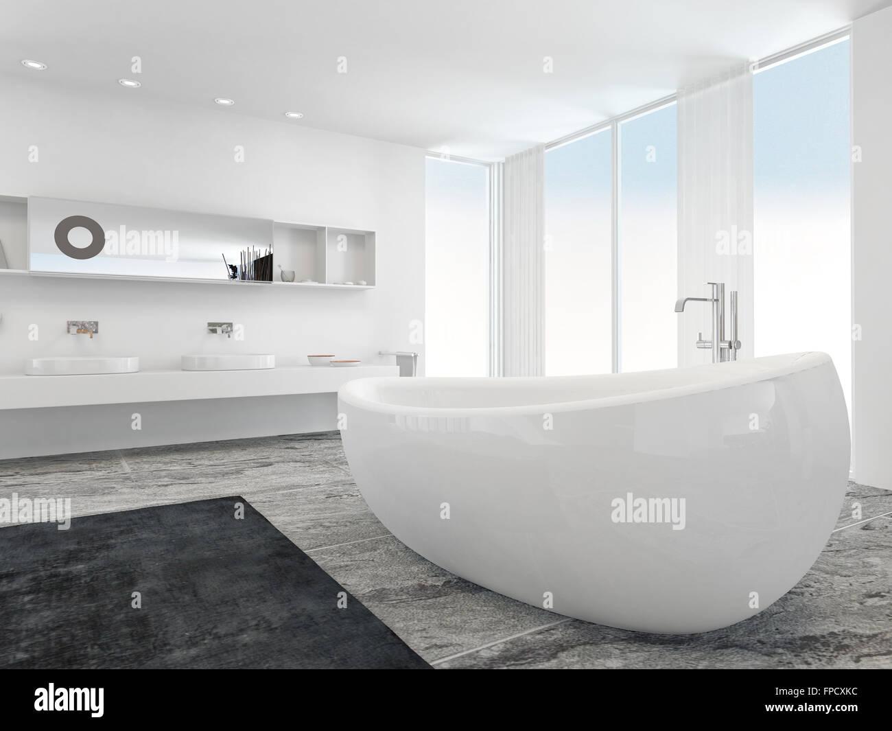 sehr ger umige helle moderne badezimmer interieur mit boden bis zur decke platte glasfenster auf. Black Bedroom Furniture Sets. Home Design Ideas