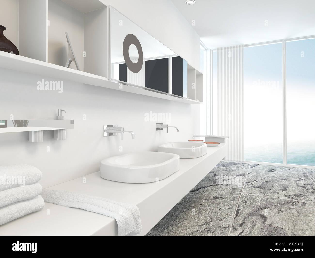 moderne wand wei e doppel waschtisch mit waschbecken. Black Bedroom Furniture Sets. Home Design Ideas