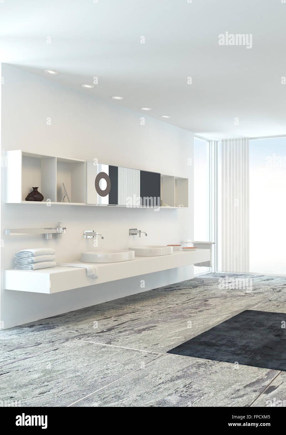 Wand doppelwaschbecken einheit in einem frischen leichte for Wande badezimmer