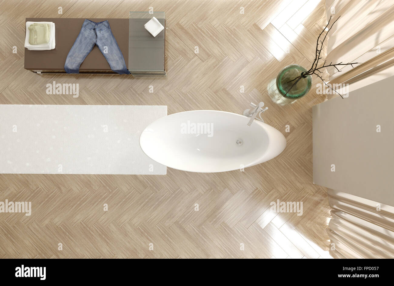 draufsicht auf ein modernes badezimmer interieur mit modernen ovale wei e badewanne fischgr t. Black Bedroom Furniture Sets. Home Design Ideas