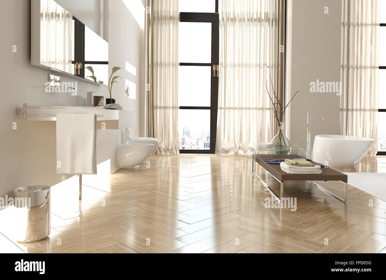Modernen gehobenen badezimmer interieur mit einem fischgr ten boden raumhohe fenster mit - Raumhohe fenster ...