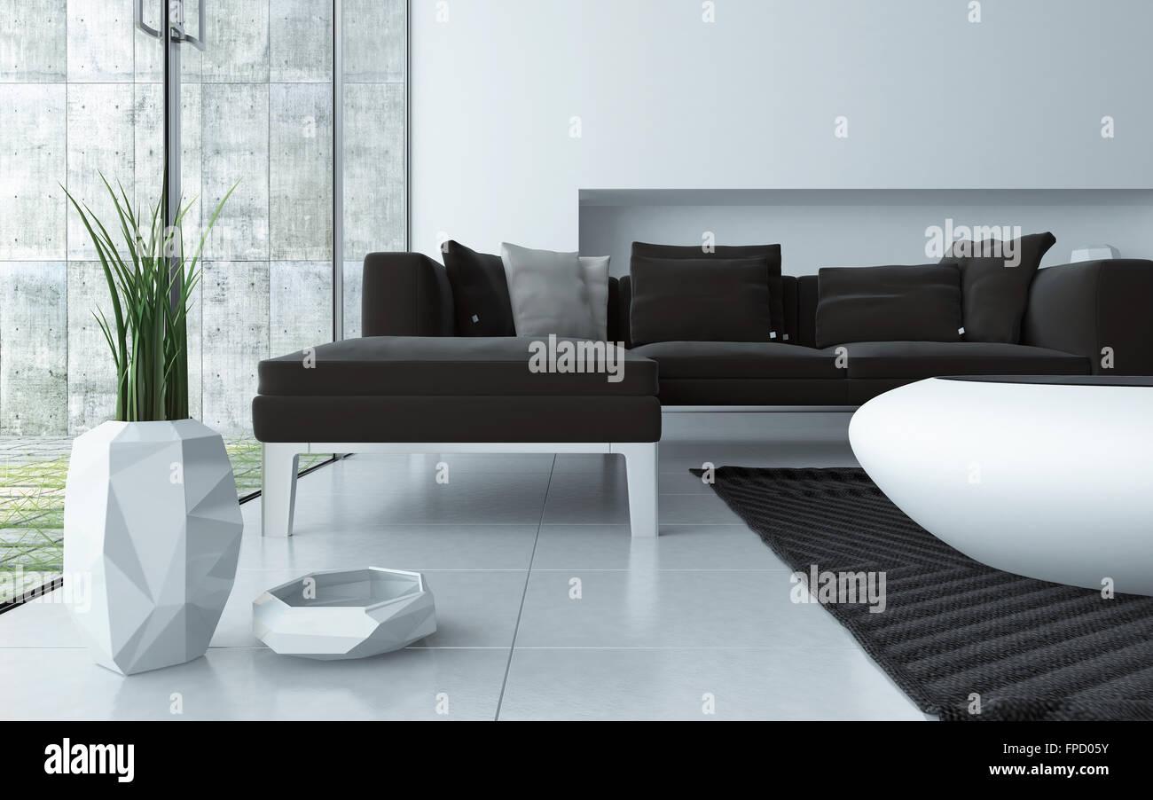 Modernen grauen und weißen Wohnzimmer Interieur niedrigen Winkel ...
