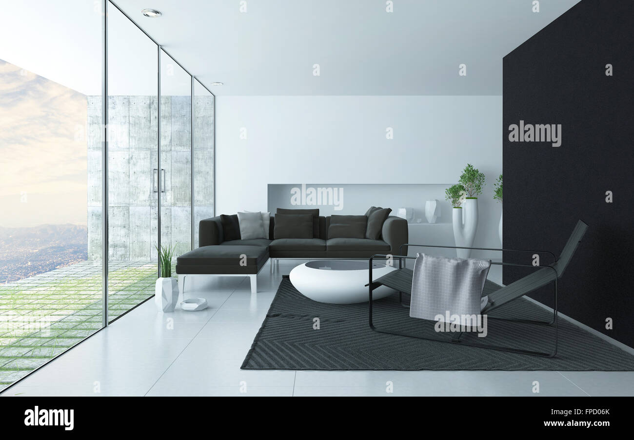 anthrazit grau wei en modernen wohnzimmer interieur mit einem glas wand mit blick auf einen. Black Bedroom Furniture Sets. Home Design Ideas