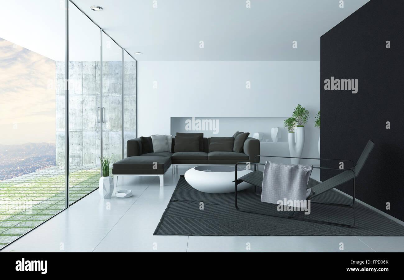 Anthrazit Grau Weißen Modernen Wohnzimmer Interieur Mit Einem Glas Wand Mit  Blick Auf Einen Gepflasterten Innenhof Und Gepolsterte Sitzgruppe, ...