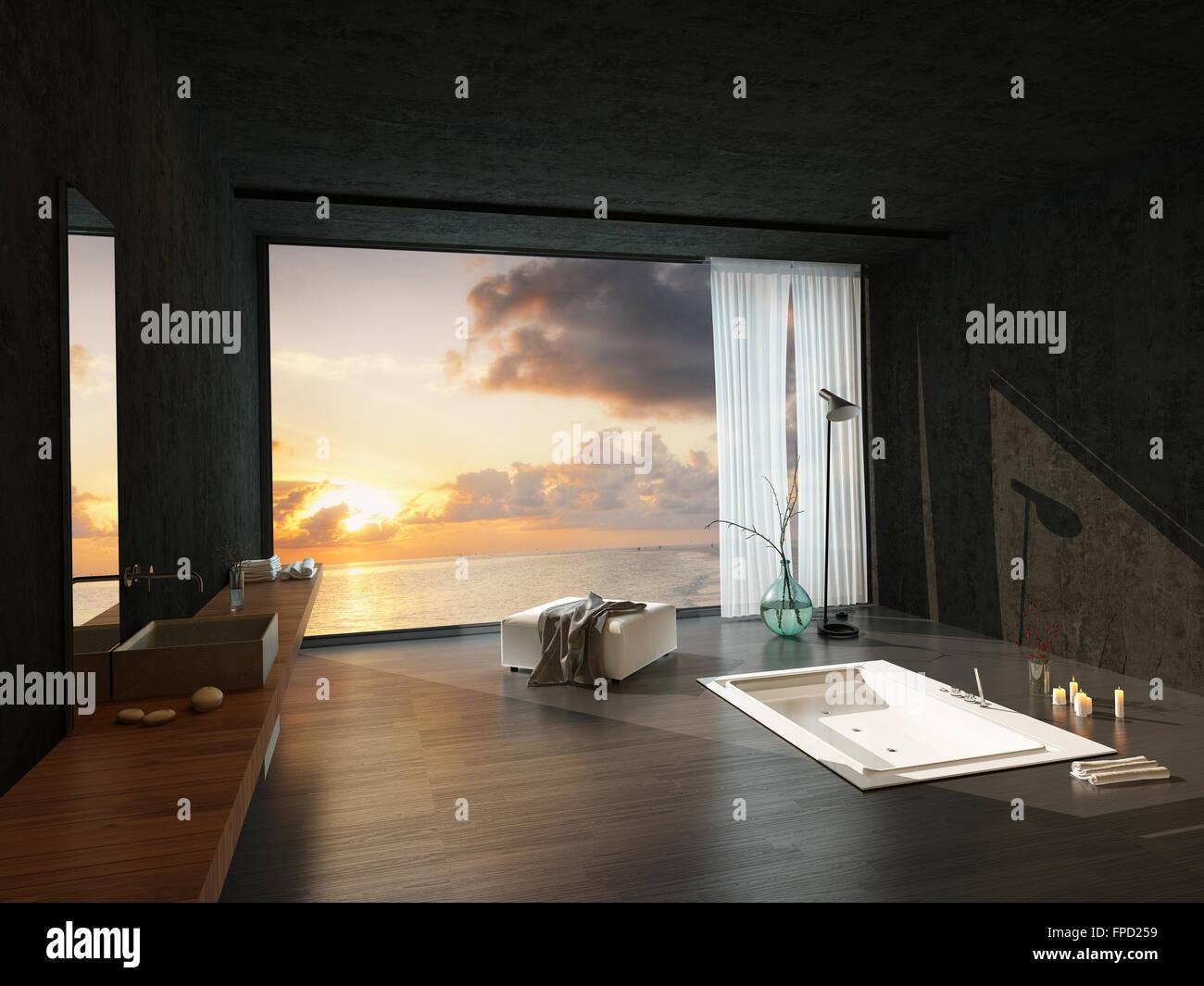 Versenkte Badewanne In Eine Moderne Luxus Badezimmer Mit Einem Farbenfrohen  Sonnenuntergang Sichtbar Durch Die Großen Fenster