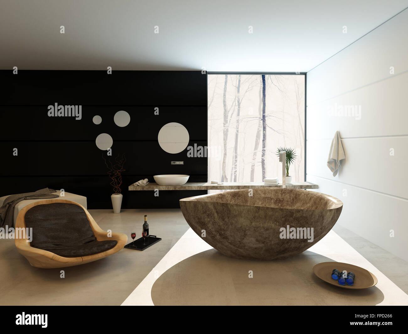 Zeitgemäßen Luxus Badezimmer Interieur Mit Freistehende Marmor Badewanne,  Moderne Holz Sessel Stuhl Und Wand Wandmontage Eitelkeit Schwarz Akzent Mit  Einem ...