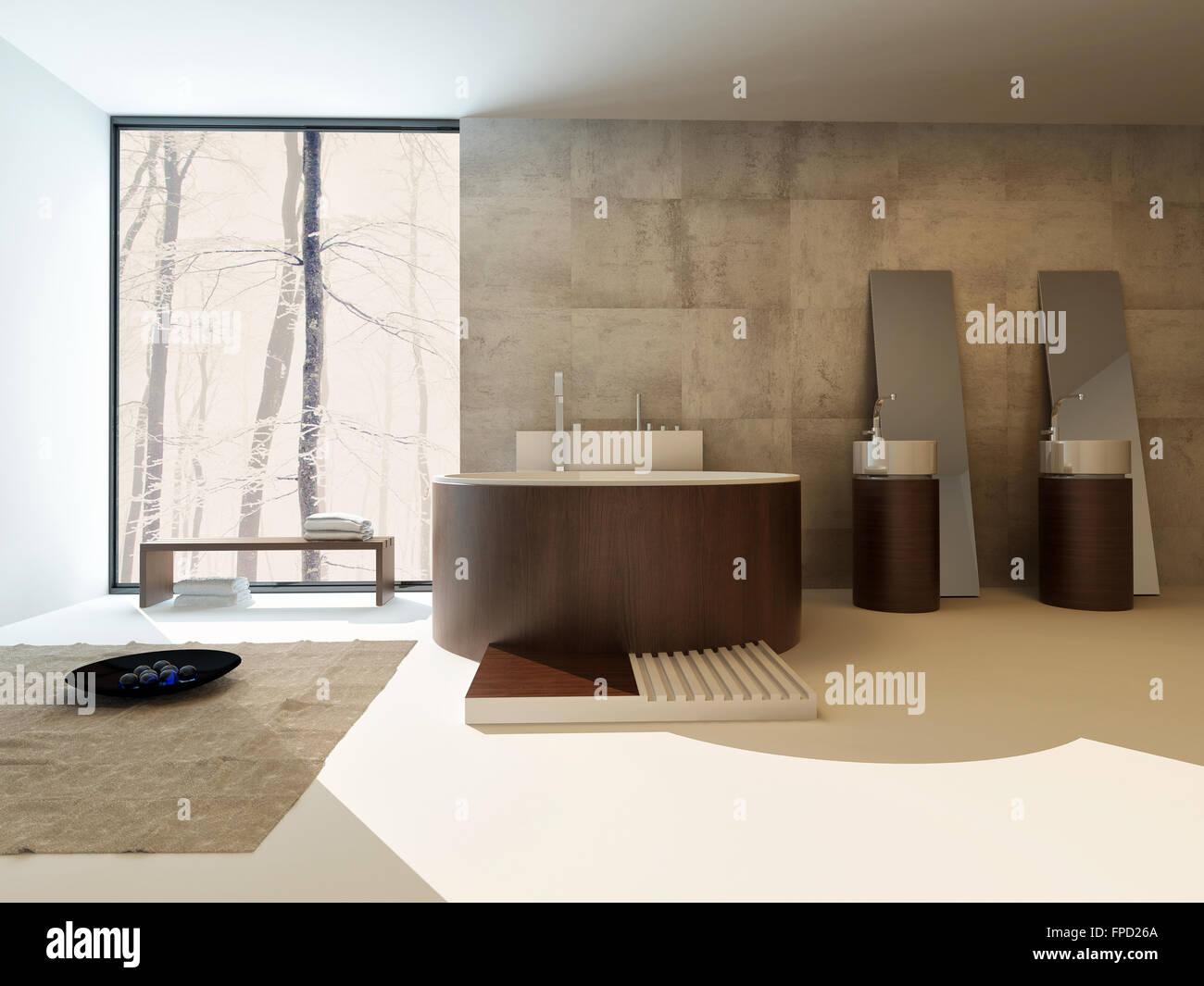 Modernes Badezimmer Interieur mit einer kreisförmigen braune Suite ...