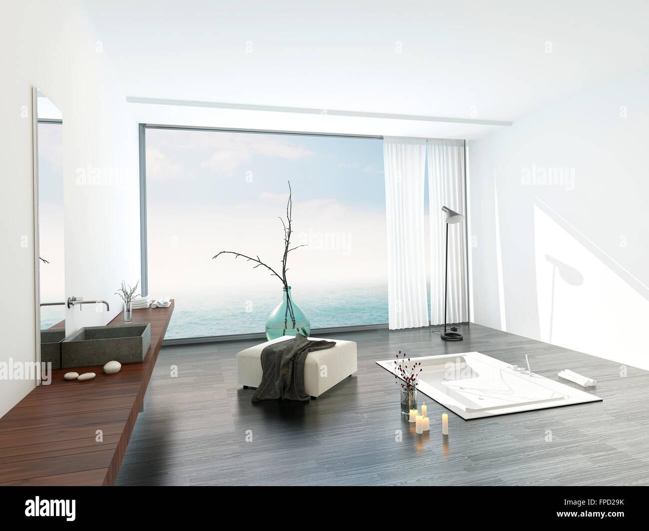 Moderne helle weiße badezimmer interieur mit einem großen fenster