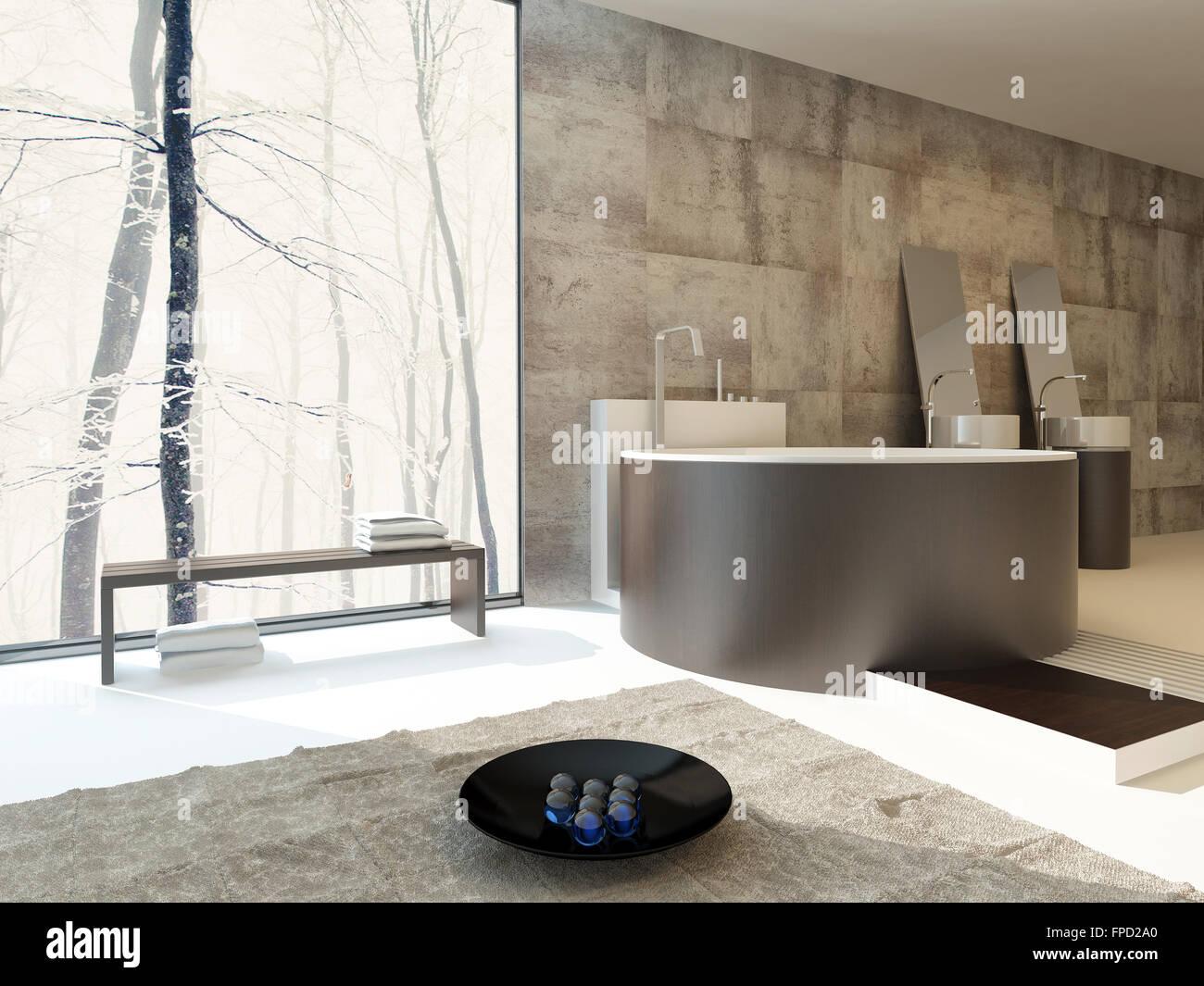 Lieblich Moderne Luxus Badezimmer Interieur In Beige Und Braun Mit Einem  Kreisförmigen Freistehende Badewanne Und Passende Stockbild