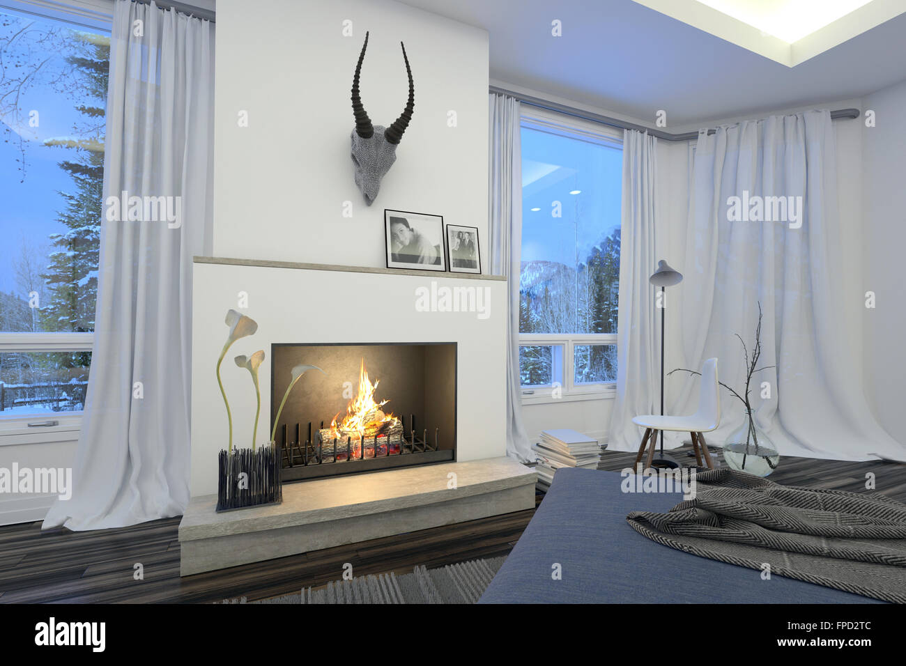 Moderne Stilvolle Weiße Wohnzimmer Interieur Mit Einem Feuer Im Kamin Unter  Eine Jagdtrophäe Flankiert Von View Fenster Mit Weißen Gardinen Mit Blick  Auf ...
