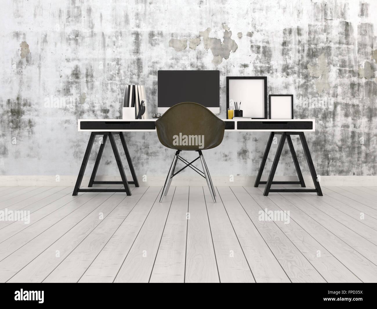 Moderne schwarze und graue Büroeinrichtung mit Gestell Schreibtisch ...