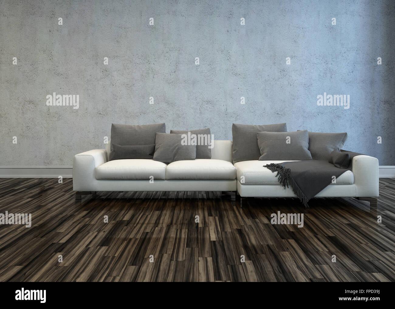 Weiße Schnittsofa mit grauen Kissen in kargen Raum mit Parkett und ...