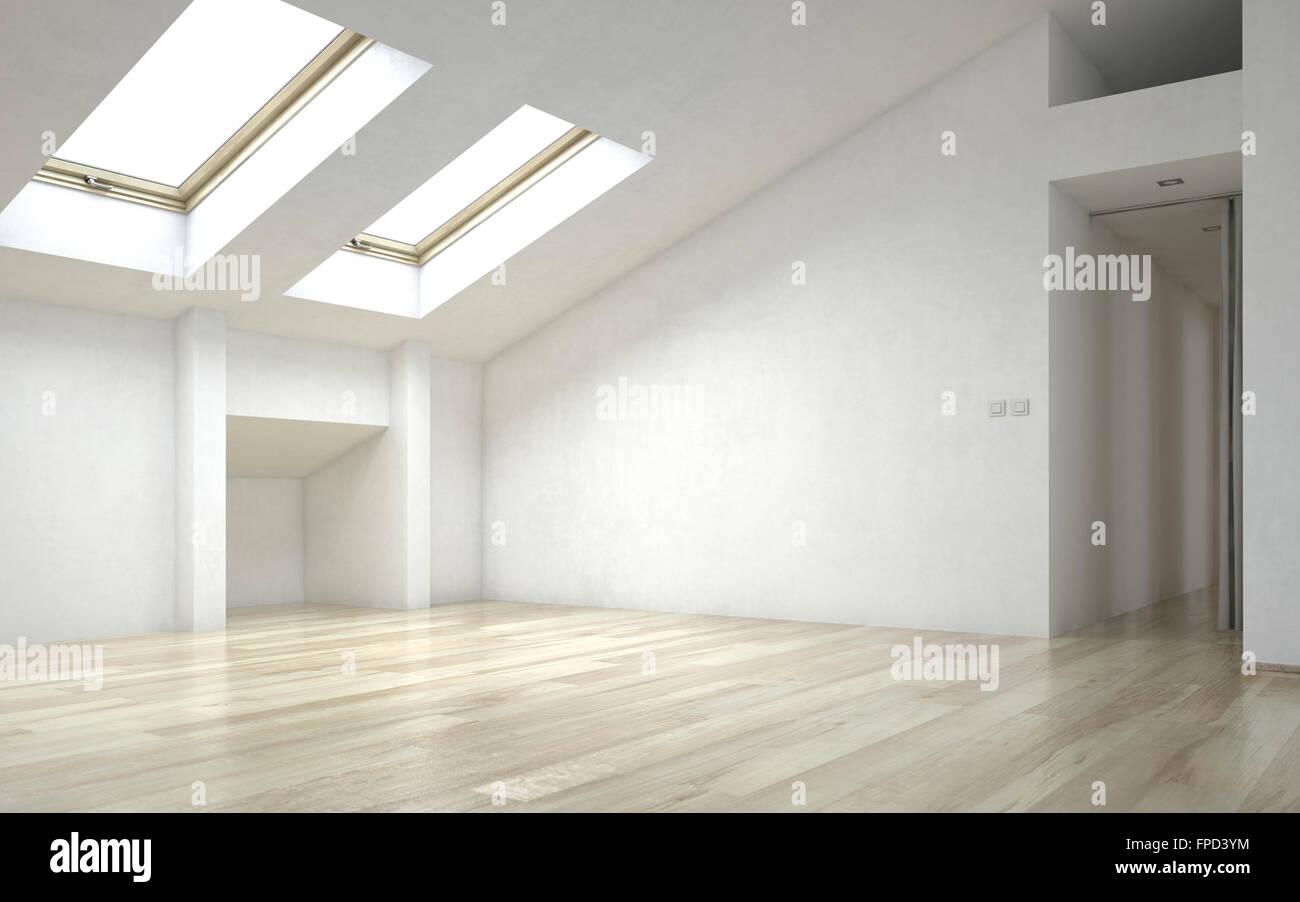 Innere Des Leeren Raum Neues Zuhause Mit Holzböden, Weißen Wänden Und Hellen  Oberlichter
