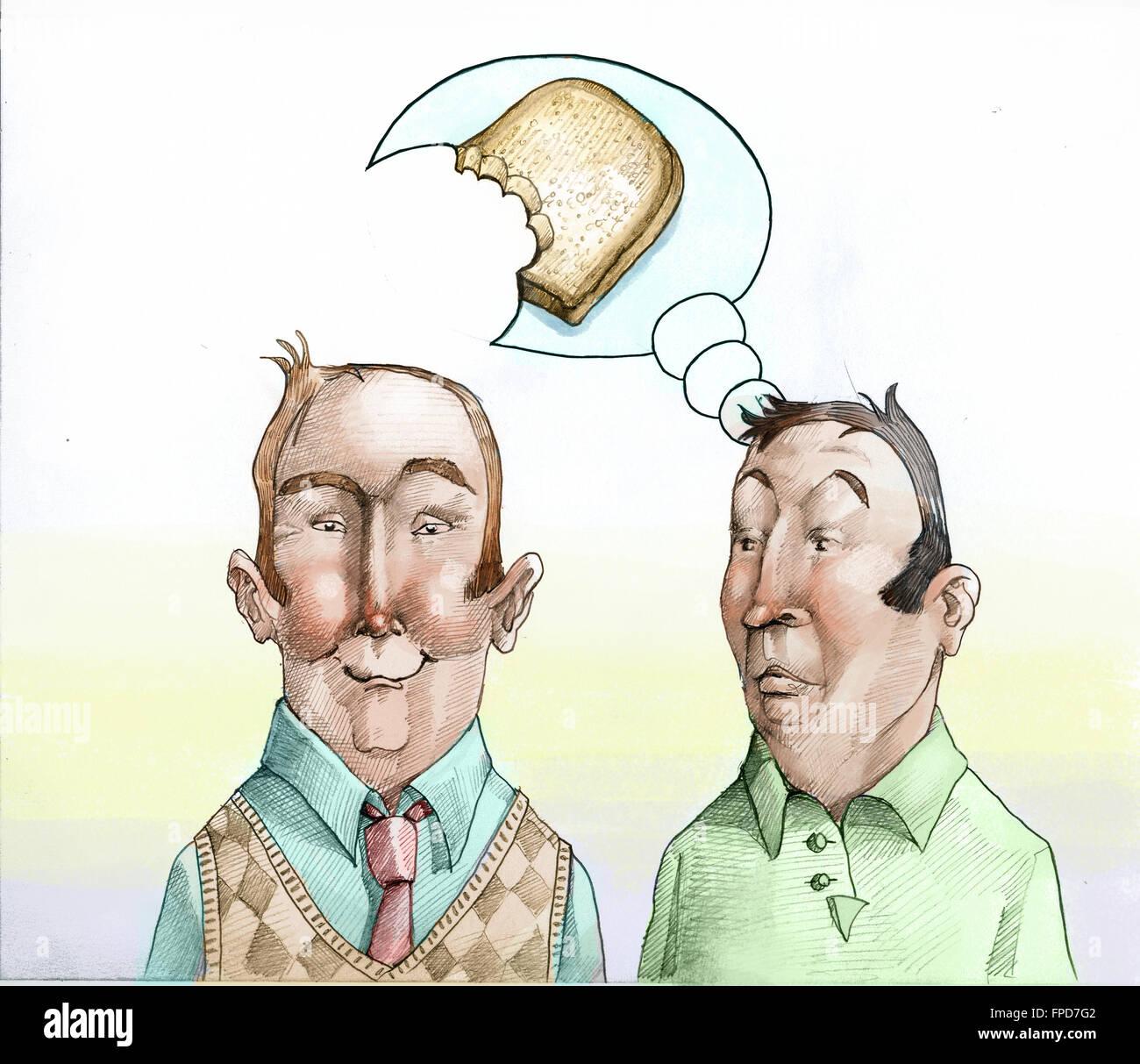 zwei Männer in das Gesicht gesehen, stellt sich eine einer Scheibe Brot, der andere nimmt einen Bissen bei Stockbild