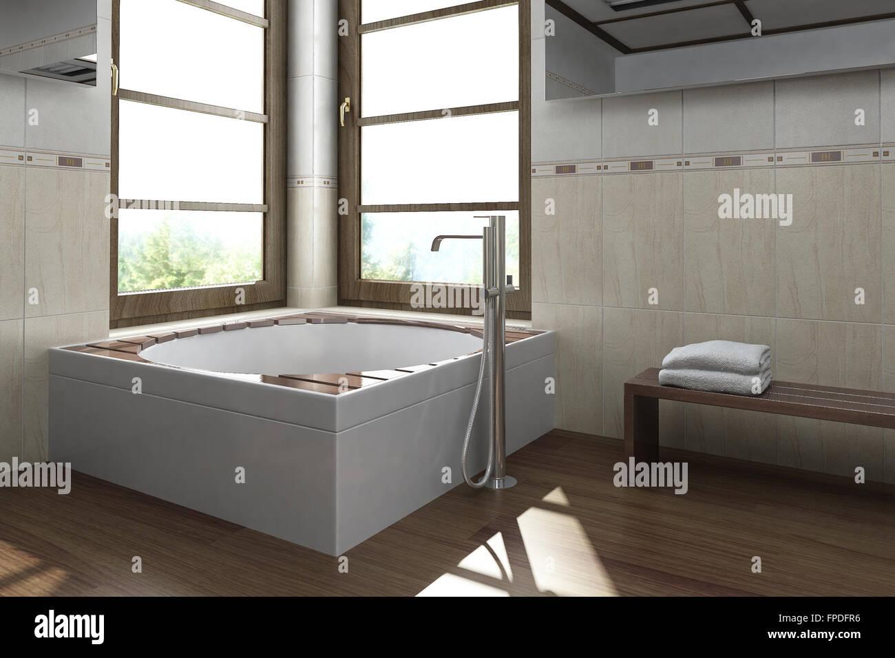 Modernes Innendesign Bad Badezimmer 3d Rendering Stockfoto Bild