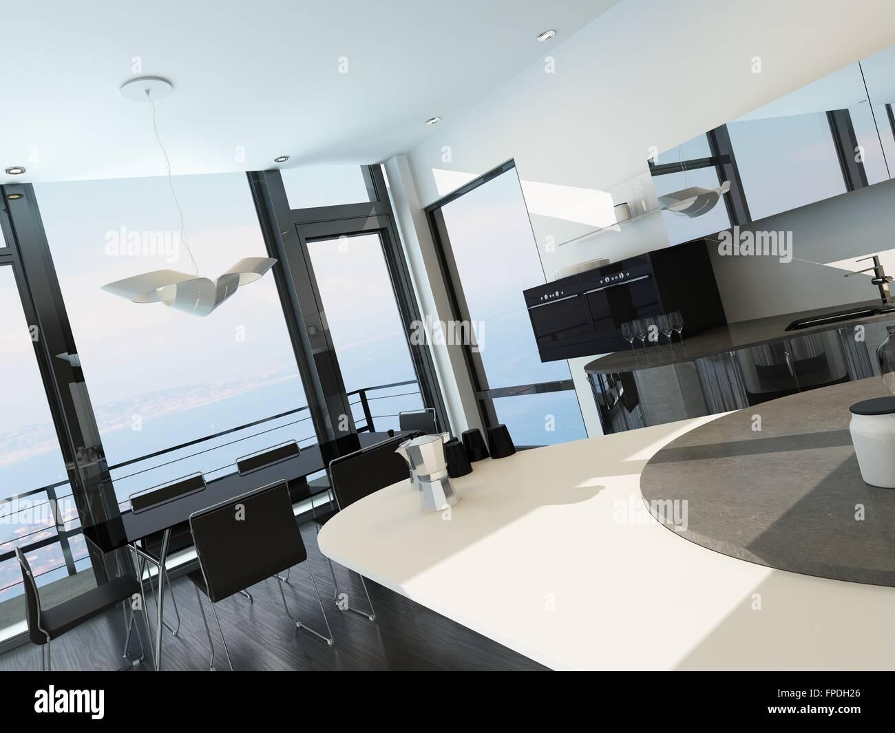 Moderne Sommerküchen : Holz holz landschaft küche modernes luxushaus stockfoto bild