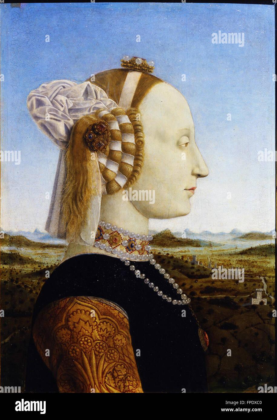 Piero Porträts des Herzogs und der Herzogin von Urbino, Federico da Montefeltro und -Battista Stockbild