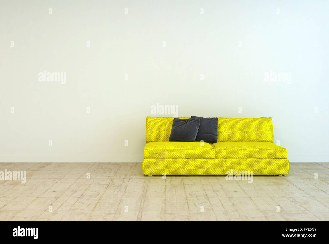 Gelbe Couch Möbel Mit Schwarzen Kissen Auf Einer Leeren Wohnzimmer