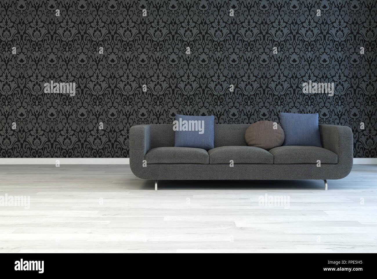 Dunkel grau Sofa mit quadratischen und runden Kissen auf einer ...