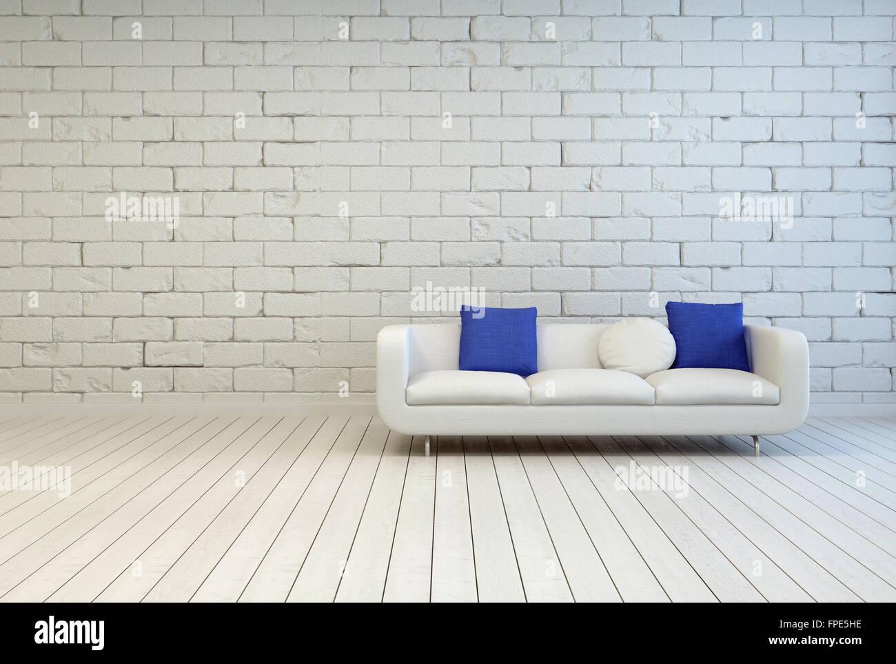 Elegante Weiße Couch Mit Weißen Und Blauen Kissen Auf Einer Leeren  Wohnzimmer Mit Einer Aus Weißen Ziegel Wand Und Holzboden Design.