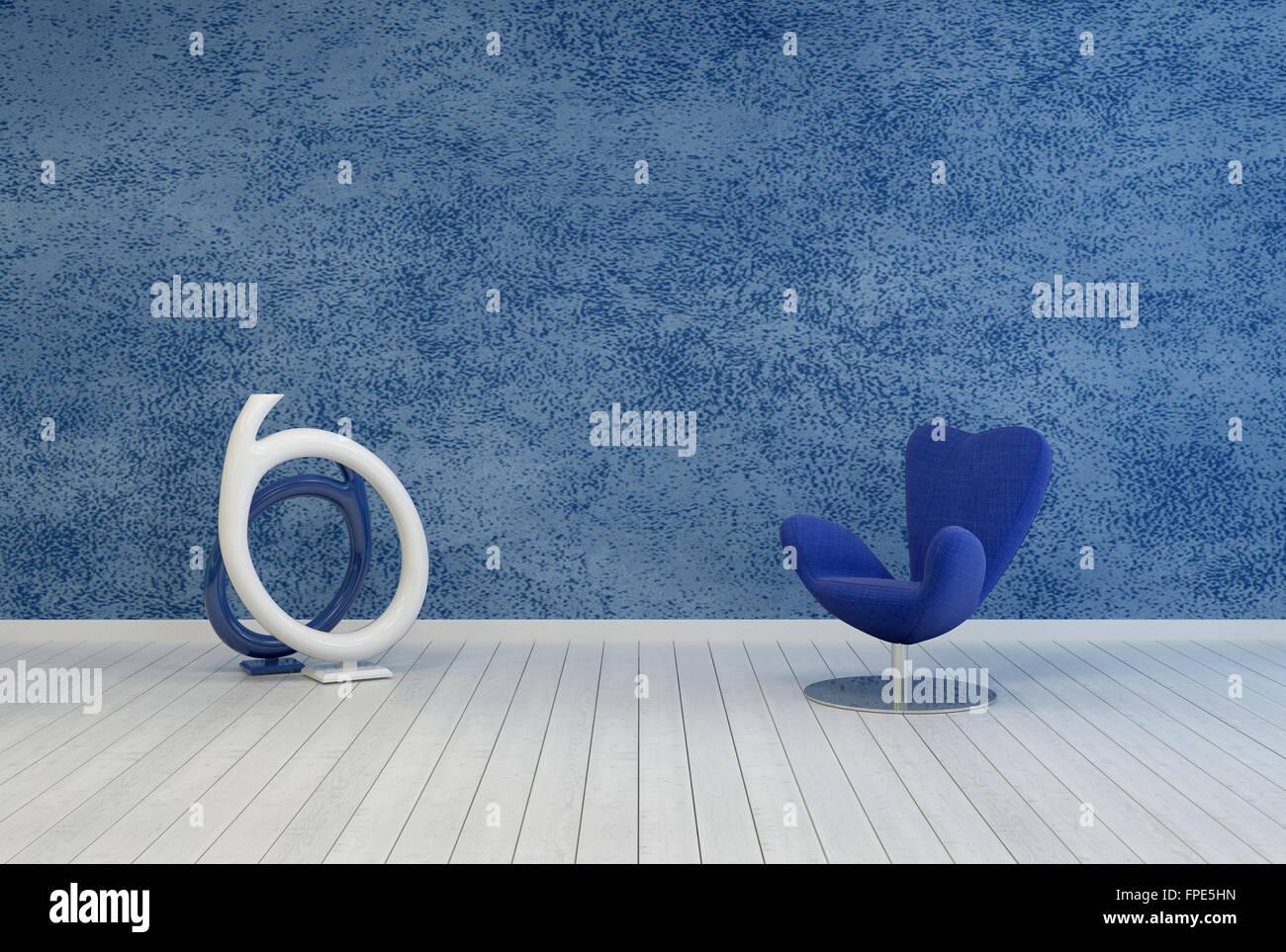 Minimalistische blauen Wohnzimmer Dekoration und Interieur mit einer ...