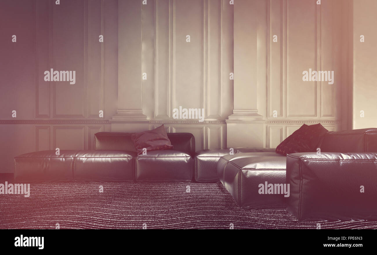 Leather sofas settees stockfotos leather sofas settees bilder alamy - Holzvertafelung wand ...