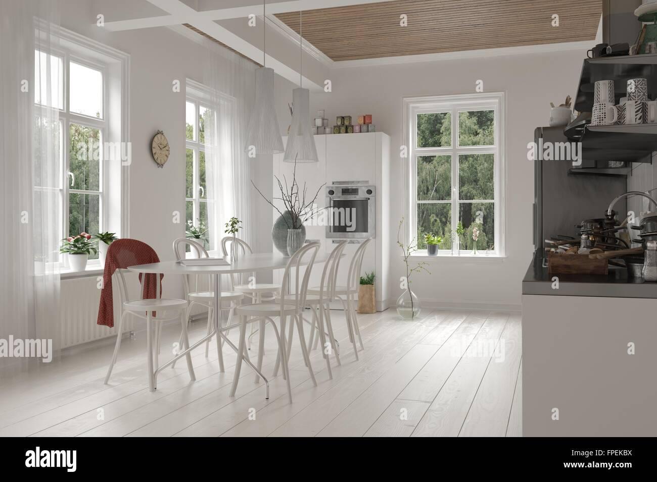 Offene geräumige weiße küche und esszimmer interieur in einem loft
