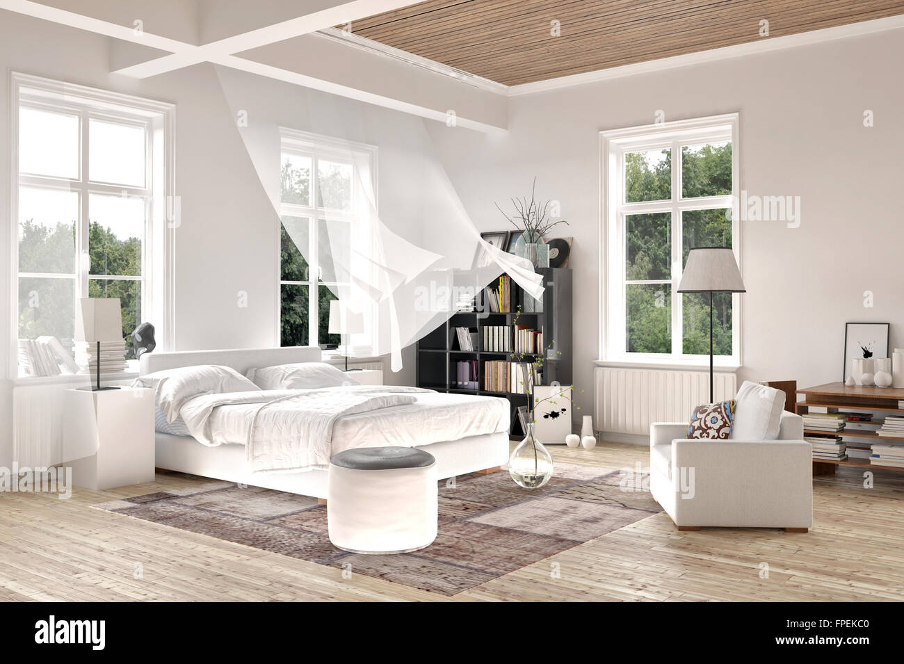 helle wei e luxus gerendert schlafzimmer innenraum mit weht vorh nge auf hohen fenstern ber ein. Black Bedroom Furniture Sets. Home Design Ideas