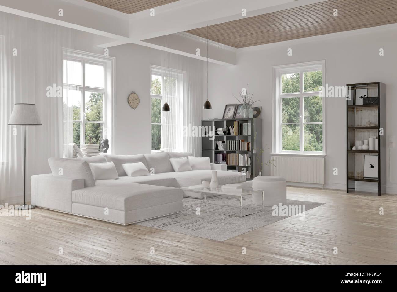 Modernes Loft Wohnzimmer Interieur mit einfarbigen weißen ...