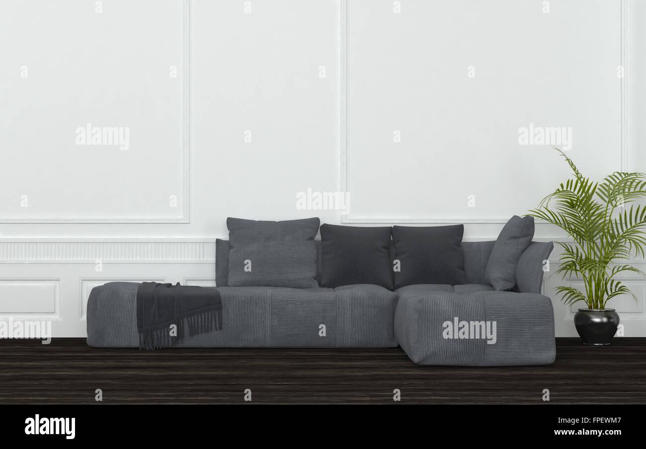 Plüsch grau Schnittsofa mit Kissen, werfen und Topfpflanze in ...