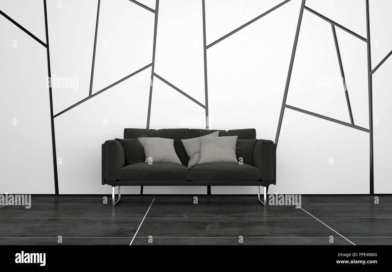 Dunkel Grau Sofa Mit Kissen In Spärlich Eingerichtetes Zimmer Mit Dunklen  Fliesen Fußböden Und Wände Mit Geometrischen Muster. 3D Rendering.