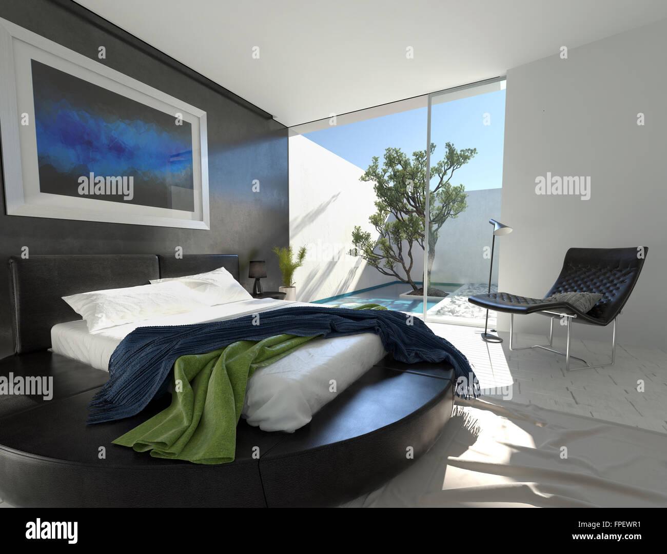Luxus schwarz-Leder-Bett auf einem runden Podest in einem modernen ...