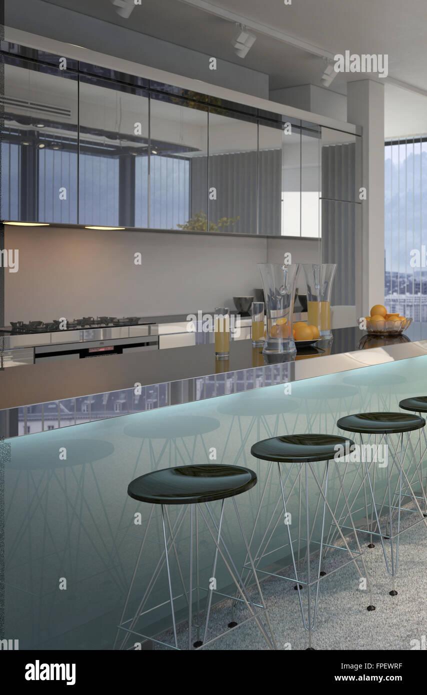 Moderne Theke Ausgekleidet Mit Hocker In Offenes Konzept Küche Moderne Wohnung  Eigentumswohnung. 3D Rendering.