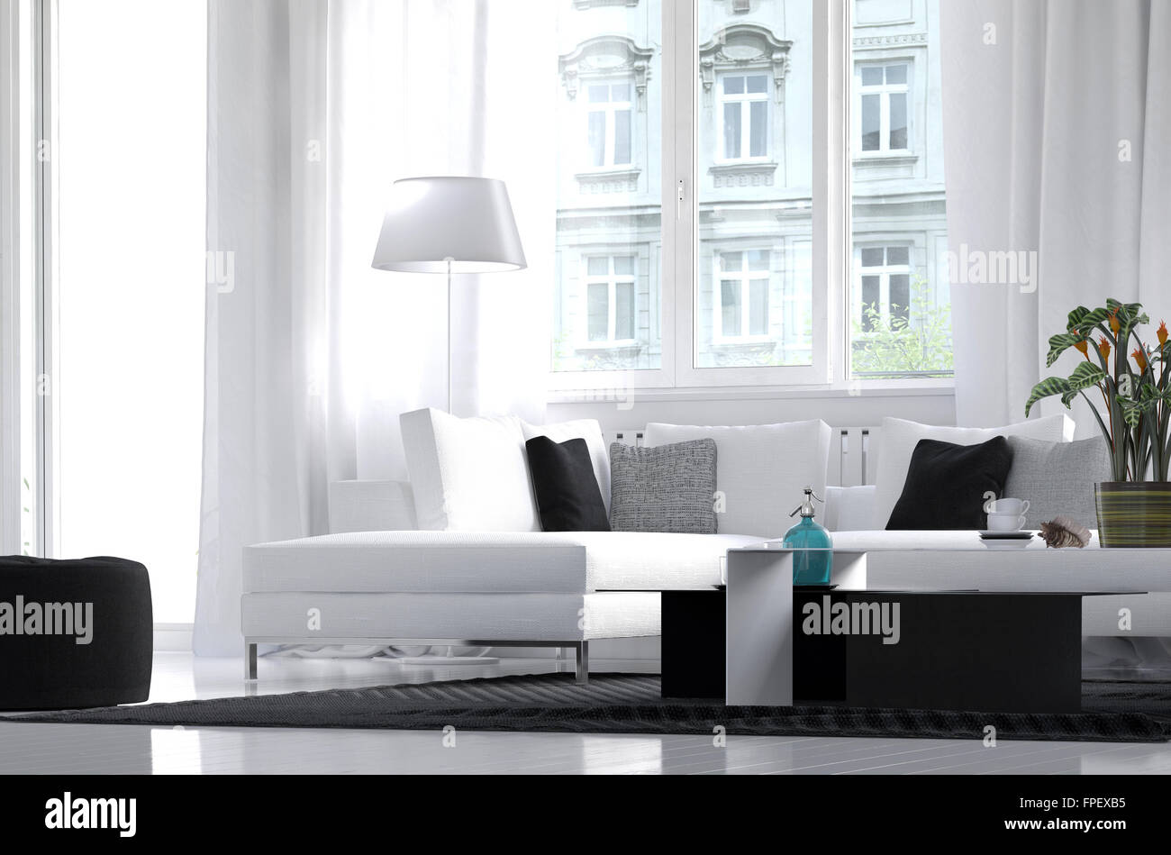 moderne wohnung wohnzimmer interieur mit wei em dekor und schwarzen akzenten in die m bel mit. Black Bedroom Furniture Sets. Home Design Ideas