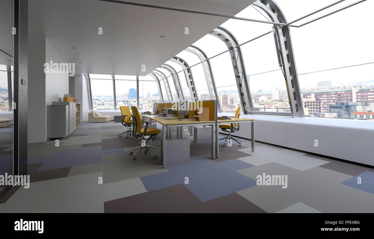 Moderne kommerzielle büro mit gebogenem glasfenster in einem wrap