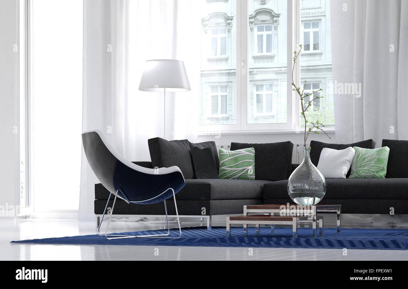 Niedrigen Winkel Blick auf ein einfaches Wohnzimmer Interieur mit ...