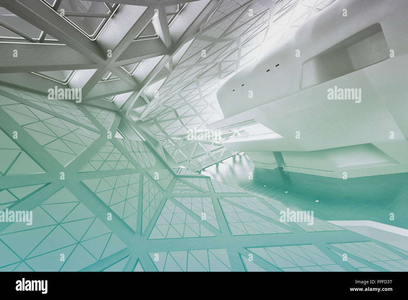 Moderne leer Atrium Interieur. Graustufenbild mit azurblauen Farbe ...