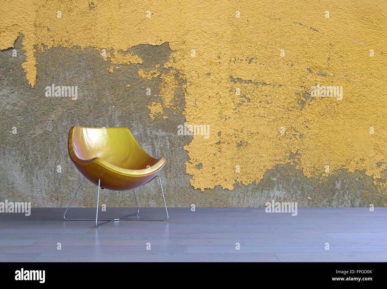 3D Rendering eines einfachen modernen gelbe Wanne-Lehrstuhls für ein ...