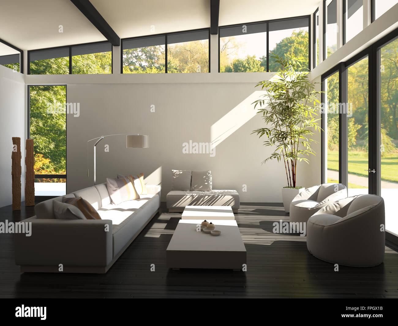 Moderne Wohnzimmer Innendesign mit schwarzem Boden und riesige ...
