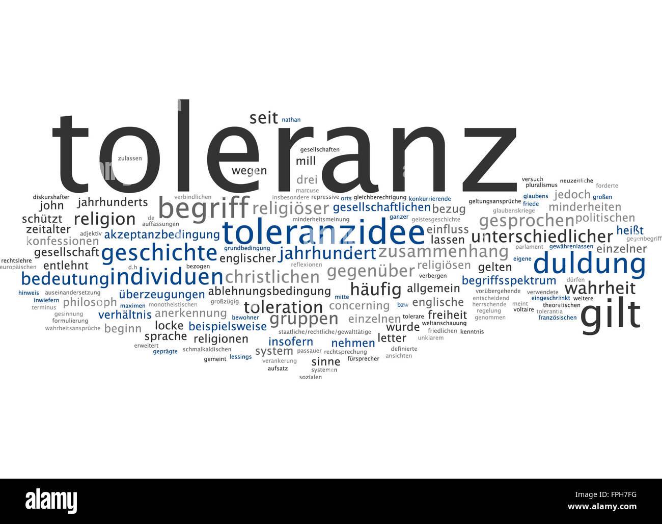 Toleranz Duldung Geschichte müssen toleranzidee Stockbild