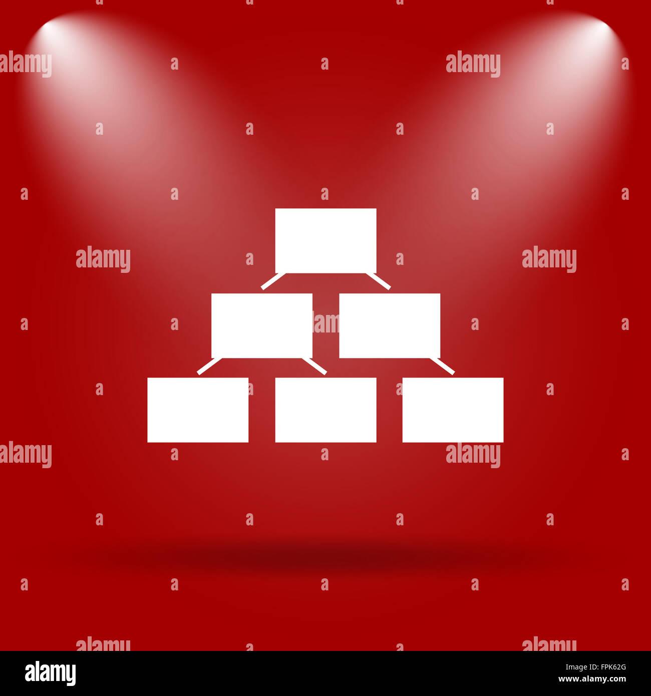 Organigramm-Symbol. Flache Symbol auf rotem Grund Stockfoto, Bild ...