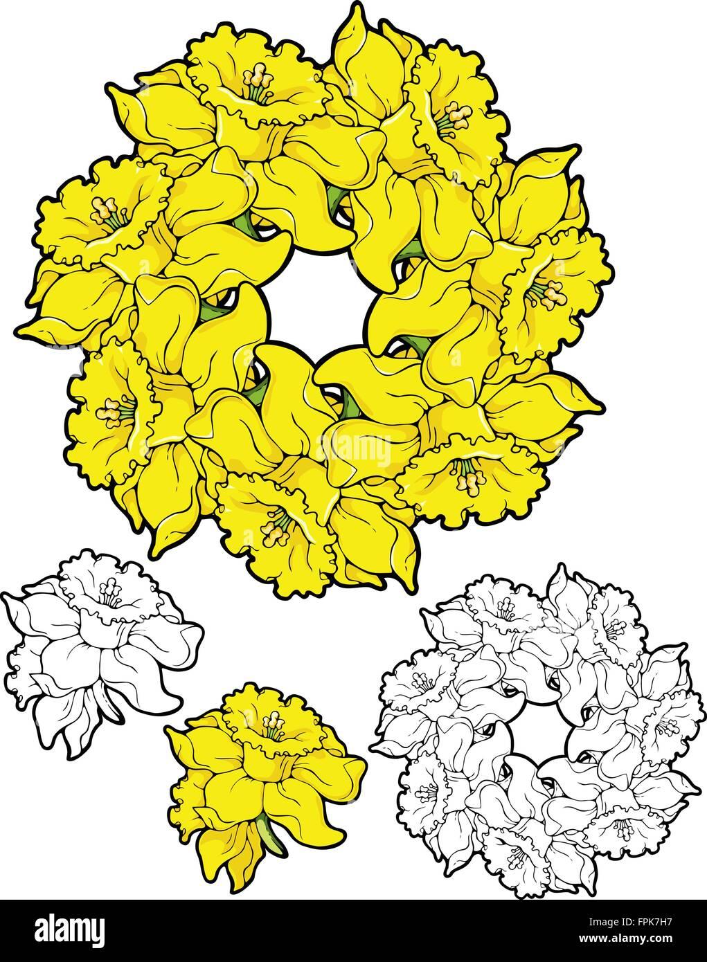 Frühling Mandalas Von Gelben Blüten Sieben Narzissen Vektor