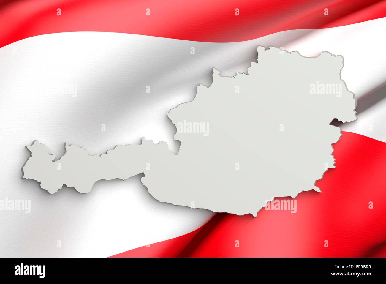 3d Karte Osterreich.3d Rendering Der Osterreich Karte Und Eine Flagge Auf Dem