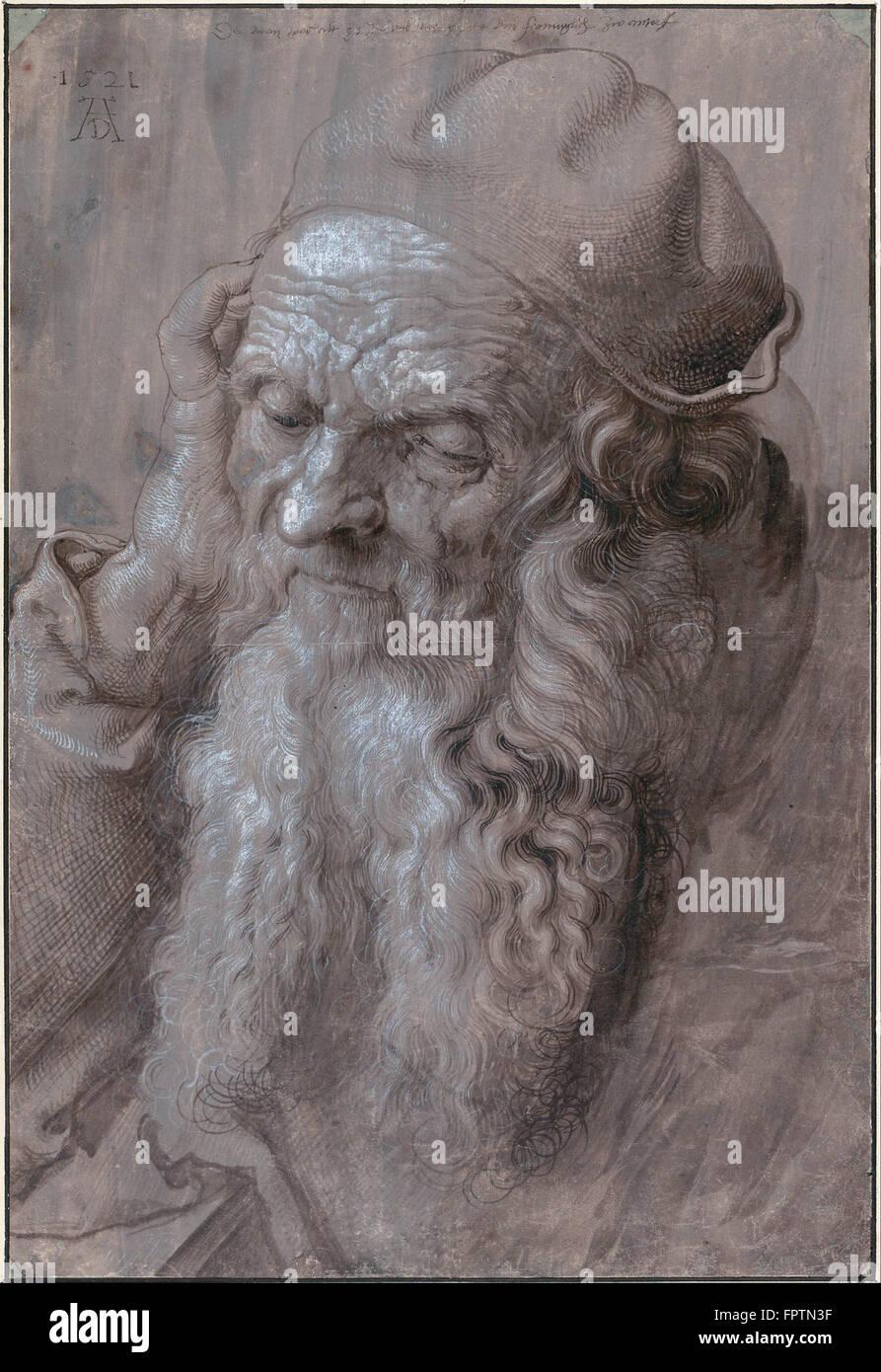 Albrecht Dürer - Kopf eines alten Mannes - 1521 Stockbild
